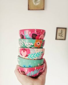 En Stock, Pallet, Fondant, Planter Pots, Bohemian, Hand Painted, Tableware, Pattern, House