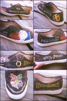 Awesome multi fandom shoes! But can I have doctor who, Harry potter, ninja turtles, avatar tla, city of bones, Percy Jackson, the fault in our stars, ect.