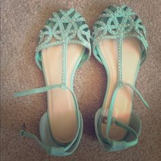 Mint Jeweled Sandals These are so lovely and comfortable, but they just don't fit into my wardrobe. I've only worn them once, so they are in like-new condition. Ankle strap closure. Bamboo Shoes Sandals