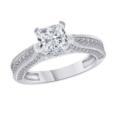 2.45 Carat Round Cut Solitaire Engagement Ring 14K Solid White Gold #Gemdepot #SolitairewithAccents #Christmas