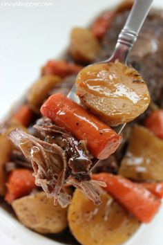 Slow Cooker Pot Roast - loaded with potatoes, carrots, and onions is an easy Crock-pot idea that makes for a filling meal. Juicy meat with incredible flavors. Prep it, toss in the slow cooker, and return later in the day to a great family meal. Crock Pot Food, Crockpot Dishes, Crock Pot Slow Cooker, Slow Cooker Recipes, Beef Recipes, Cooking Recipes, Crockpot Meals, Crock Pots, Freezer Meals