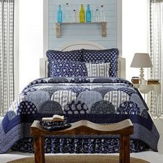"""Bluehill Harbor King Quilt Bundle   King quilt measures 110x97"""" King bed skirt measures 78x80x16"""" Luxury quilted sham measures 21x37"""" Made from 100% cotton Part of our Bella Taylor Home collection Was"""