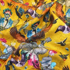 SANTORUS FABRICS : Arrivée Des Oiseaux – Mustard  : Linen Blend • Lightweight Finish • Made in UK : Shop online now at www.santorus.com