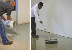 How to level a concrete floor - you don't have to live with an irregular or uneven concrete floor. If you're planning to install new flooring over the slab, then you can get the smooth, level surface you need. Check out and on how to level your floor. Concrete Floor Leveling, Concrete Basement Floors, Best Flooring For Basement, Old Basement, Concrete Porch, Diy Flooring, Flooring Ideas, Basement Ideas, Modern Flooring