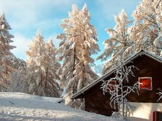 cozy winter chalet near Nax in the canton of Valais, Switzerland