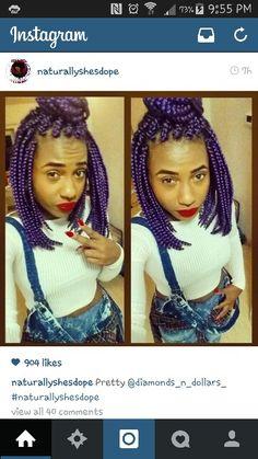 Box braids /purple/bob
