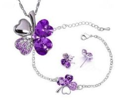 Purple Four Leaf Clover Swarovski Crystal 18KGP Necklace, Earrings, Bracelet Set $23.99