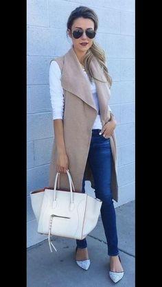 Long beige vest, skinny jeans and pumps. Fall Fashion 2016 Stitch Fix