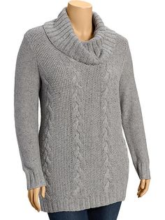 Women's Plus Funnel-Neck Cable-Knit Sweaters Product Image