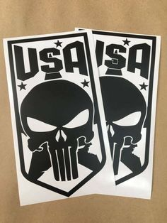 USA Skull & Star Car Truck Door Decal Stickers - Ram F150 Silverado Tundra Vinyl Decals, Truck, Skull, Stickers, Star, Amp, Trucks, Stars, Skulls