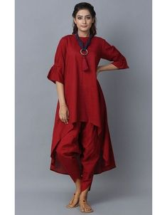 Product Features: Color: Red Bottom Color: Red Fabric: Blended Cotton Bottom Fabric: Cotton Bottom Style: Dhoti Pants Product Type: Kurti Set Disclaimer: It is Made to order/Custom made products and cannot be exchanged or returned. Khadi Kurta, Indian Salwar Kameez, Indian Designer Outfits, Indian Outfits, Indian Dresses, Womens Clothing Stores, Clothes For Women, Woman Clothing, Plain Kurti