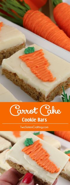 Carrot Cake Bars with Cream Cheese Frosting - chocked full of carrots and cinnamon these yummy cookie bars are frosted with delicious cream cheese frosting. This is a great Spring Cookie and a wonderful choice for Easter, Mother's Day or a Spring Brunch. This cookie bar tastes just like Carrot Cake which makes it a great Easter Dessert idea too. Pin this delicious cookie bar recipe for later and follow us for more great Easter Food ideas. #easterdessert #eastertreats #carrotcake #easterfood
