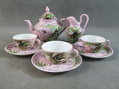 Early R.S. PRUSSIA Porcelain CHILD'S TEA SET~~Pink w/Birds & Flowers