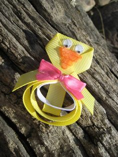 Easter Hair Bow - Easter Ribbon Sculpture - Chick Hair Clip  - Yellow Hair Clip - Yellow Duck Hair Clip