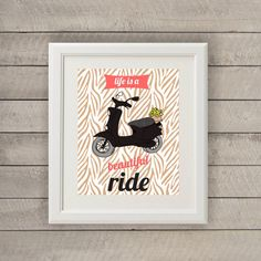 Life is a Beautiful Ride Vespa Scooter Art Print Retro Bike Printable Wall Decor Poster Instant Download 8x10 Coral Red Beige Animal Print