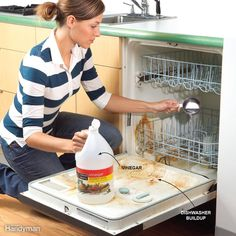 If you notice that it takes longer than normal for loads to dry in your clothes dryer, it may be time to clean out the vent. First detach the duct from behind the unit and then push Vinegar In Dishwasher, Dishwasher Parts, How To Clean Rust, Mold In Bathroom, Sump Pump, Home Repairs, Heating And Cooling, Diy Home Improvement, Entry Doors