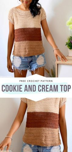 Cookie and Cream Top Free Crochet Pattern How delicious is this combination of colors? One of a kind, obviously! It makes us think of our favorite dessert. If you like neutral shades in your wardrobe, you will appreciate this simple, timeless design. Bag Crochet, Crochet Blouse, Crochet Woman, Crochet Clothes, Doilies Crochet, Crochet Lace, Crochet Summer Tops, Crochet Tops, Crochet Vests