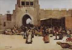 In April 1882 Melville visited Baghdad's North Gate, where the block-like forms of the architecture clearly caught his eye, providing a strikingly geometric backdrop to this colourful market scene. Figures are deployed like chess pieces, each standing within their own pool of shadow in the midday sun.