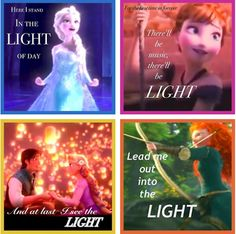 Disney Princess - LIGHT! The theme of these four Disney Princesses. I'm re pinning this just to point out its THREE movies.