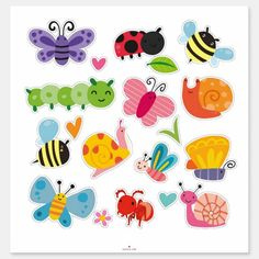 Shop Cute Insects and Bugs Sticker created by NatureTales. Mothers Day Crafts For Kids, Kids Crafts, Diy And Crafts, Kids Stickers, Custom Stickers, Design Your Own Stickers, Clipart, Scrapbook Pages, Bugs