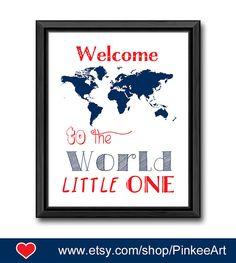 world map theme baby wall art travel theme nursery decor welcome to the world baby decor navy blue nursery print baby boy gift boy room art by PinkeeArt, $11.00