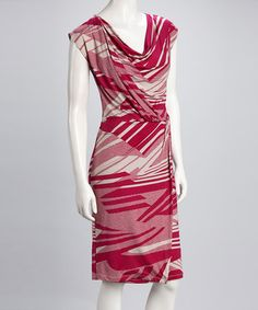 Take a look at this Fuchsia Abstract Stripe Dress by Sharon Max on #zulily today!