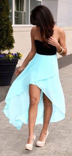 Strapless blue/black dress