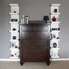 Stunning red, white and black shelving!