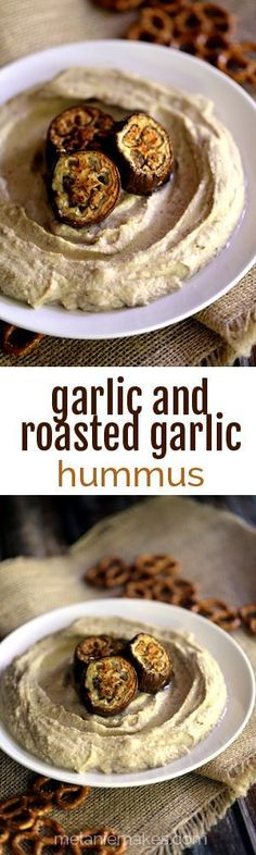 Hands down the creamiest hummus ever! All of the ingredients are whirled together in a blender to create a flavor packed spread. I love the flecks of eggplant that are swirled throughout and the eig Appetizer Dips, Yummy Appetizers, Appetizer Recipes, Snack Recipes, Eggplant Hummus, Scape Recipe, Roasted Garlic Hummus, Slow Roast, Eggplant Recipes
