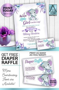 Purple Teal Elephant Baby Shower Invitation-Printable Invitation Peanut Invite-Elephant Shower-FREE DiaperRaffle,book request&Thank you card - Purple Teal Elephant Baby Shower Invitation -Printable Invitation – Mommy to Be Shower-Peanut Inv - Teal Baby Showers, Baby Shower Purple, Baby Girl Shower Themes, Baby Shower Invites For Girl, Peanut Baby Shower, Baby Shower Photo Booth, Shower Bebe, Color Lila, Printable Baby Shower Invitations