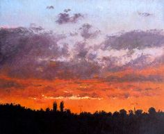 Cuadro al oleo de un atardecer. 27x22 cms Rubén de Luis.  Un cuadro al oleo en el que se puede apreciar la silueta del horizonte bajo un cielo de multitud de colores y tonalidades desde el naranja y amarillo hasta el azul claro y gris. Información y encargos de cuadros a medida escribiendo a: ruben@rubendeluis.com Tel. 616 46 21 58 #cuadros #oleos #arte #Impresionismo #Impressionism Dibujos Tumblr A Color, Landscape, Drawings, Illustration, Painting, Frases, Watercolor Painting, Portraits, Painting Art