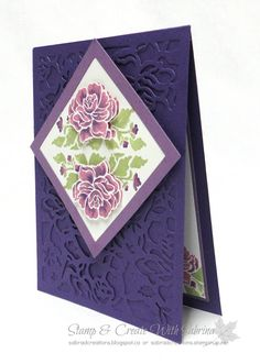 Stamp & Create With Sabrina: Stampin' Up! Floral Phrases & Detailed Floral Thinlits - Purples