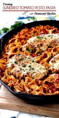 Creamy Sundried Tomato Pesto Pasta with Parmesan Chicken