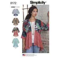 Kimono style jackets for Miss in a variety of lengths and trim options: fringe, lace, ruffles or flounces. Use contrasting fabrics or by-the-yard trims to get the look you love. Simplicity sewing pattern.