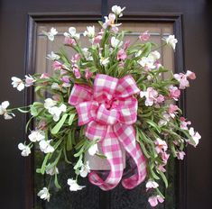 Pretty In Pink Spring Wreath, Wall Pocket, Mothers Day Floral Arrangement, Cottage Chic Wall Arrangement. $110.00, via Etsy.