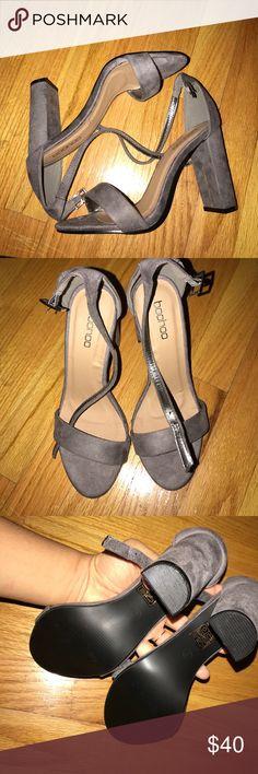 Grey suede open toe heels Open toe grey suede very comfy thick heel Boohoo Shoes Heels