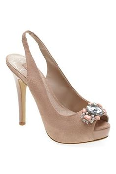 Nude Jewelled Slingback Peep Toe Court Shoes £38.. If only I could walk in these :)