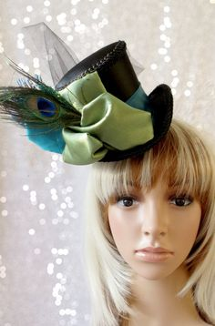 Peacock Blue and Green Mini Top Hat, Alice in Wonderland Mini Top Hat, Tea Party Hat, Steampunk Hat, Mad Hatter Hat, Bridal Shower tea hat on Etsy, $48.00
