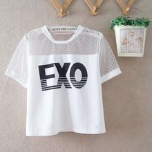 Estilo del verano EXO manga corta recortada Tops para mujeres Harajuku blusa entallada moda Kpop camisa tul camisa corta(China (Mainland))
