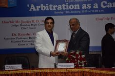 Dr. Mukund Sarda , Dean Faculty of Law, and Principal of New Law College Pune, felicitating Hon'ble Mr. Justice  R. D. Dhanuka, Judge Bombay High Court, who was in New Law College Pune for a legal discourse on 'Arbitration as a Career'  on 18th January,  2015. Hon'ble Mr. Justice  R. D.  Dhanuka also interacted with students for further guidance.