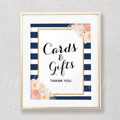 Cards & Gifts Sign, Thank You Sign, Bridal Shower Signs, Navy and White Stripes, Floral Chic - SKUHDG13 by hellodreamstudio on Etsy