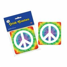 Peace Sign Coasters - Pack of 8 -  60's Hippie Party Decorations
