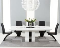 Buy Mark Harris Rossini White High Gloss Extending Dining Set - with 6 Black Hereford Chairs online by Mark Harris Furniture from CFS UK at unbeatable price. 4 to 10 Days Delivery. Black Dining Chairs, White Dining Table, Glass Top Dining Table, Extendable Dining Table, Dining Table Chairs, White Chairs, Dining Sets, Home Decor Furniture, Dining Room Furniture