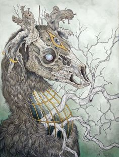 Anthropomorphic Creatures Illustrations by Caitlin Hackett. Born in Caitlin Hackett is currently based out of Brooklyn, New York where she produces Art And Illustration, Hirsch Illustration, Bizarre Kunst, Bizarre Art, Fantasy Kunst, Fantasy Art, Psy Art, Inspiration Art, Oeuvre D'art