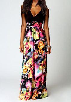 Vestido largo floral cuello V-negro 14.72
