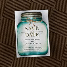 Country Style - Save The Date Magnet from Carlson Craft - Item Number: VZ28324 - A country-style mason jar displays your save the date wording. #CarlsonCraft #SaveTheDate