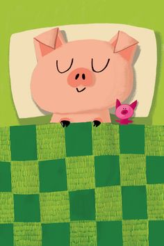 Sleep tight, little piggy. illustration by Jim Field (UK) This Little Piggy, Little Pigs, Pig Art, Cute Piggies, Cartoon Pics, Children's Book Illustration, Conte, Cute Wallpapers, Cute Art