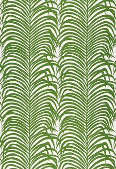 Recreate as painting for guest bedroom wall. Would also be nice as curtains. Fabric | Zebra Palm Linen Print in Jungle | Schumacher