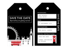 PRINTABLE Save the Date London UK Wedding Invitation Luggage Tags. If I ever were to get married again...