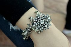 Vintage rhinestone Assemblage Bracelet. Time to break out all those old vintage costume jewels I have been saving some my dress up days and make something. Maybe mixed with velvet and Murano beads.